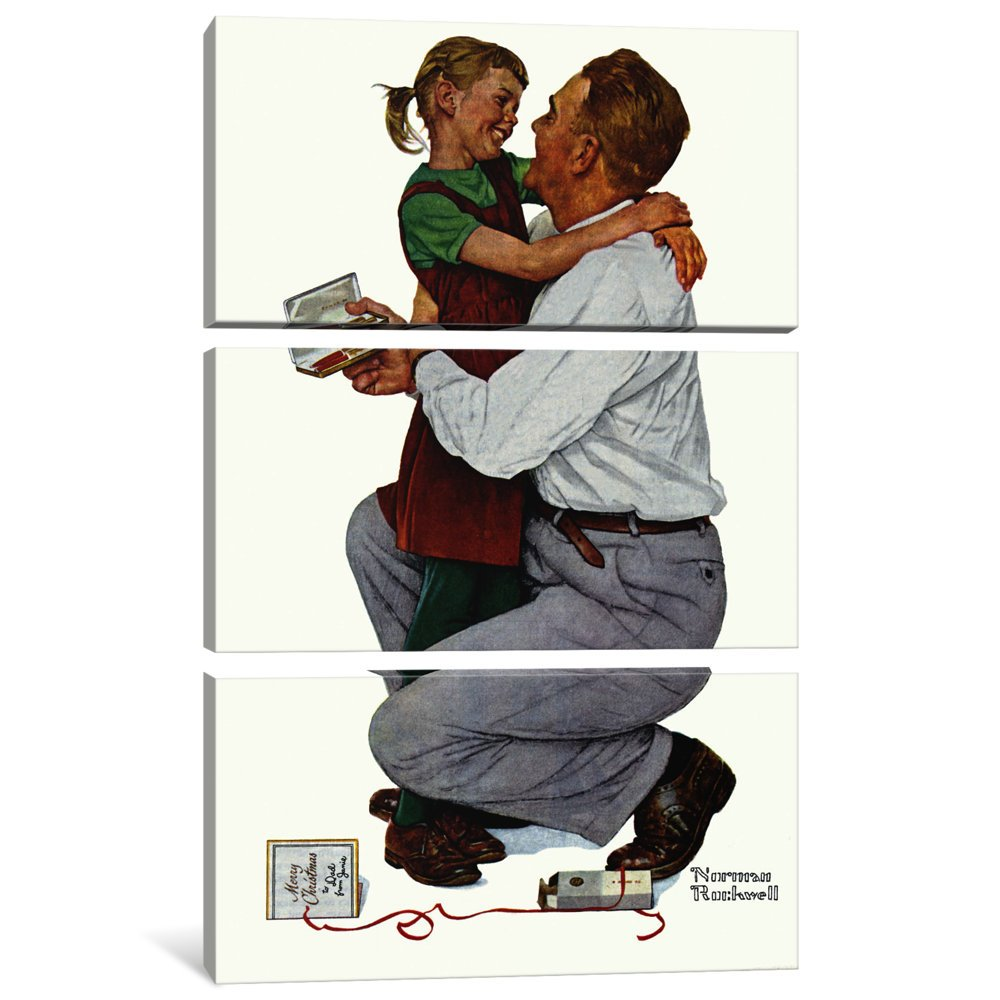 iCanvasART 3 Piece She Gave Me a Parker 61 Canvas Print by Norman Rockwell 60 x 40//1.5 Deep