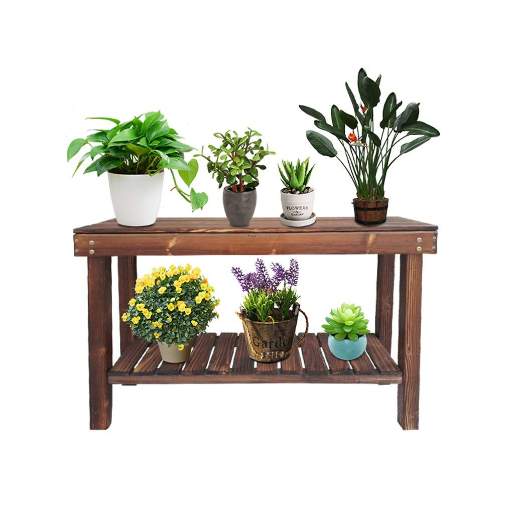 703060cm Flower racks - Solid Wood Flower Stand Double Floor Wooden Bench Home Living Room Bedroom shoes Rack Plant Shelf (Size   70  30  60cm)