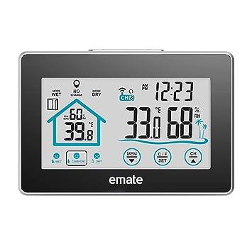 Thermometer Hygrometer Digital Touch Screen Luftfeuchtigkeit Messer Indoor DE
