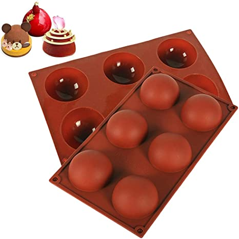 Cake Baking Mold for Dome Mousse Round Shape Cupcake Baking Pan Handmade Soap 6 Holes Silicone Mold Sphere Chocolate Mold,for Chocolate Jelly Pudding