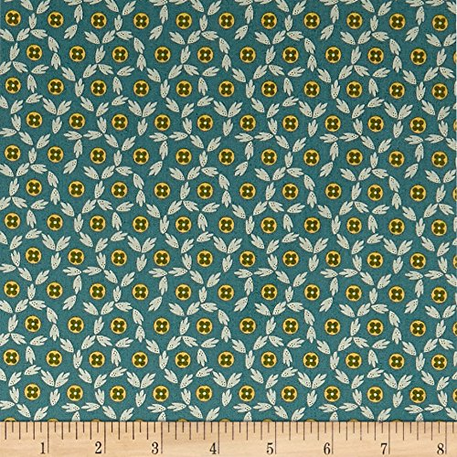 Andover Maling Road Button Flowers Blue Fabric By The Yard