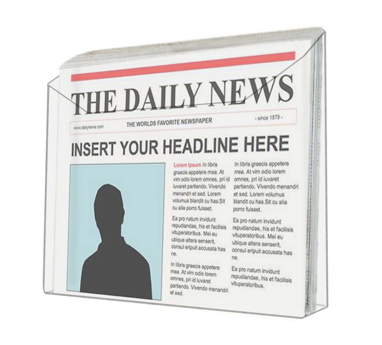 """Marketing Holders Clear Acrylic Wall Mount Newspaper Rack for Newspapers and 13-1/2""""W Literature (Pack of 12) by Marketing Holders (Image #1)"""
