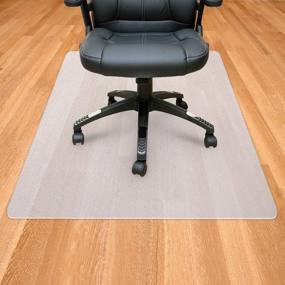Sporcis Office Chair Mat for Hardwood Floor, Polypropylene Floor Mats for Office Chair Rolling Chairs Desk Chair Mat Anti-Slip Home Office Hardwood Flooring Protector Mat 48 x 36 , White