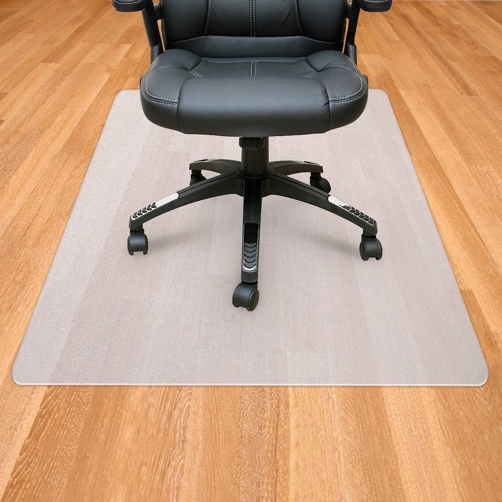 Sporcis Office Chair Mat for Hardwood Floor, Polypropylene Floor Mats for Office Chair (Rolling Chairs) Desk Chair Mat Anti-Slip Home Office Hardwood Flooring Protector Mat 48'' x 36'', White