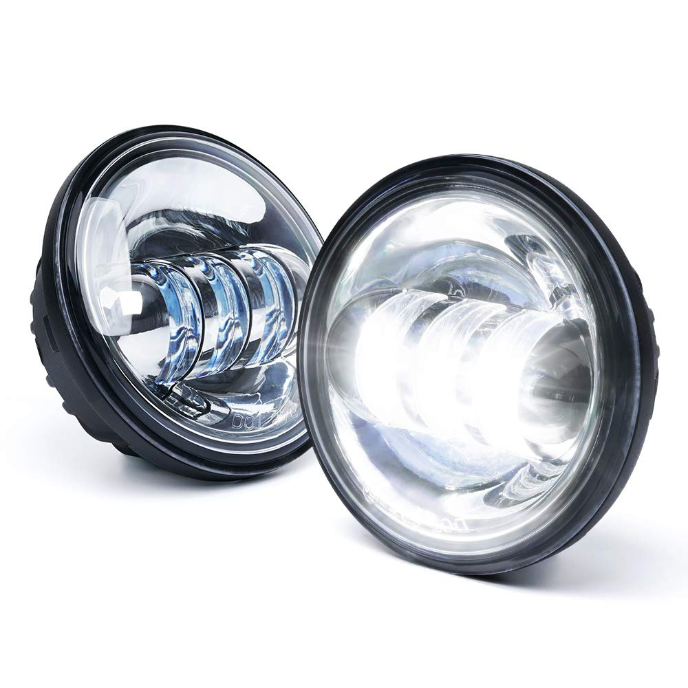 Xprite 4.5' 4-1/2' LED Fog Light Passing Projector CREE Spot Lamp for Motorcycles, Compatible with Harley Davidson 4.5 inch round Spot Lights - Chrome SL-R4.5IN-K-CHROME