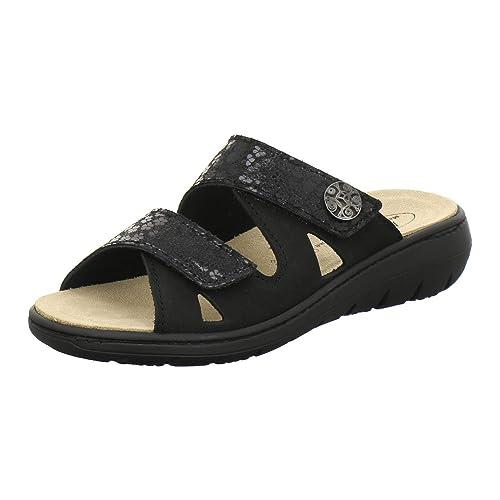 AFS Schuhe 2808, komfortable Damen Pantoletten aus Leder, praktische Arbeitsschuhe mit Wechselfußbett, Bequeme Hausschuhe