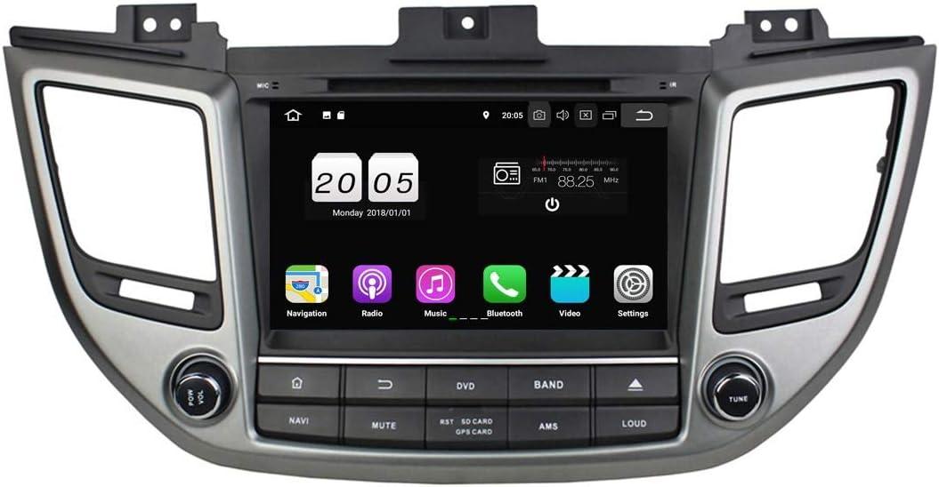 8 Pulgadas 2 DIN Coche Radio Android 8.1 OS para Hyundai IX35 / Tucson 2015 2016 2017,1024x600 Pantalla Táctil Capacitiva con Quad Core 1.5G CPU 16G Flash y 2G DDR3 RAM GPS Navi DVD 3G/WiFi OBD2