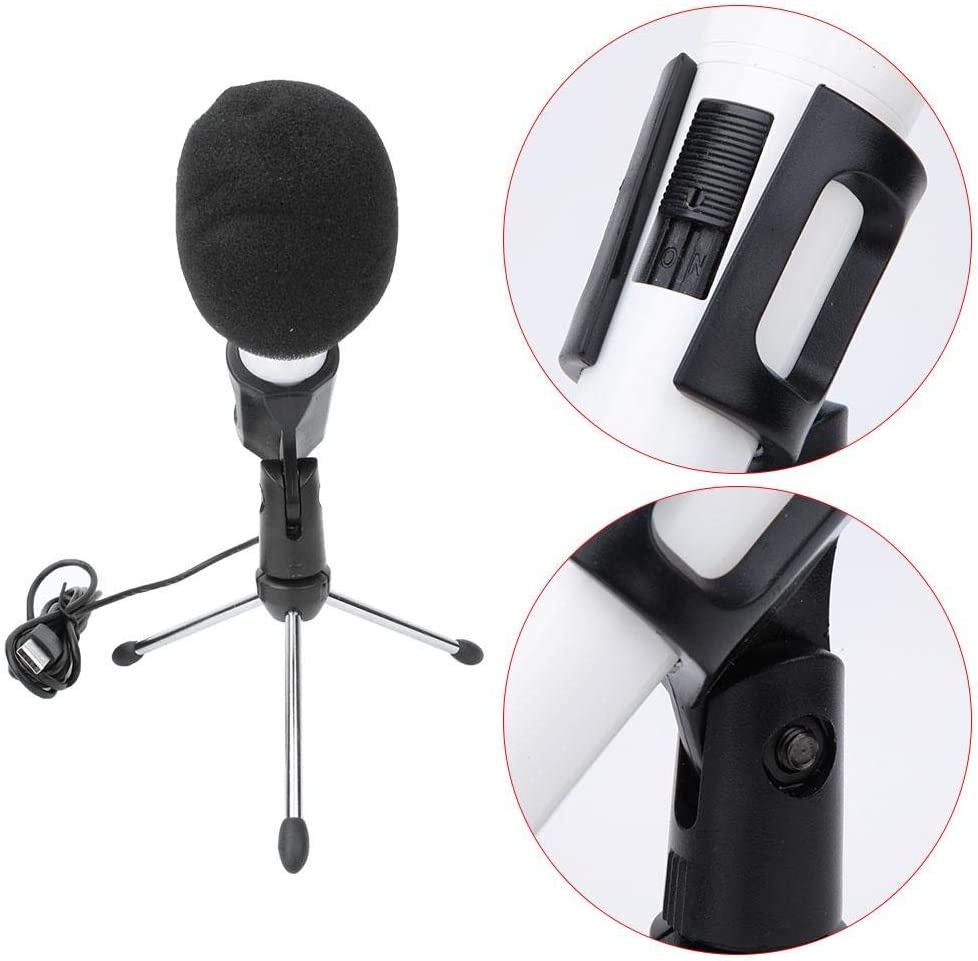 V BESTLIFE Condenser Microphone,Studio Recording Microphone Plug and Play,Professional Desktop USB Microphone with Tripod Clip for Computer.