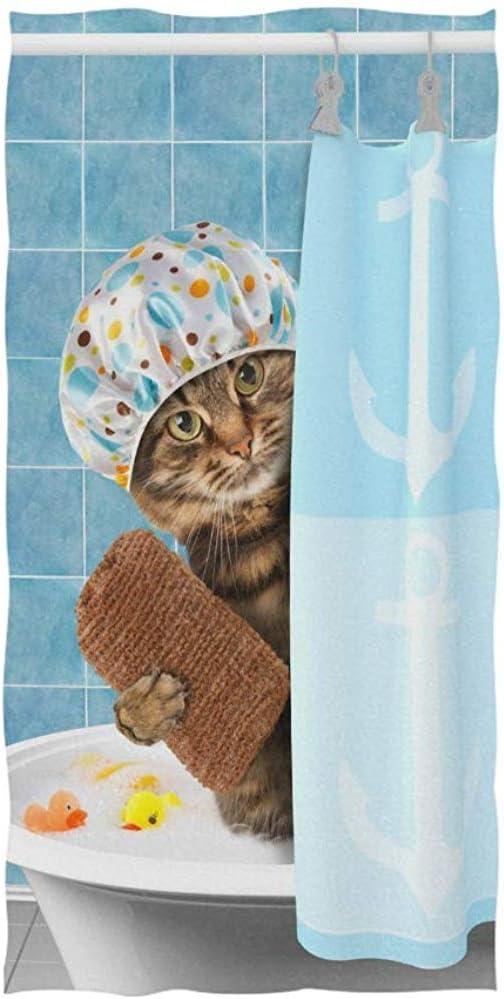 BI HomeDecor Toallas De Playa,Divertido Gato Que Se Baña con Un Juguete De Pato En La Bañera Toallas De Baño De Moda para Correr En El Gimnasio: Amazon.es: Hogar