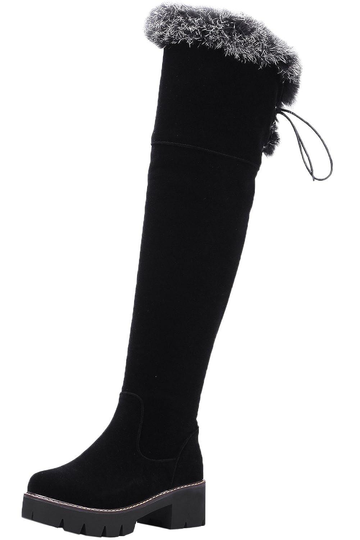 BIGTREE Lang Stiefel Damen Herbst Winter Warm Blockabsatz Schnüren Schwarz Plateau Overknees Stiefel von 38 EU Tb3d9WahB
