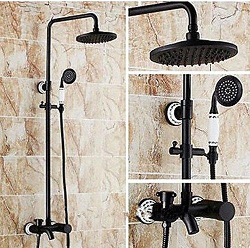 GOWE Soild Brass Shower Set Faucet Oil Rubbed Bronze Wall Mounted Shower Head+Handheld Shower Mixer Tap 0
