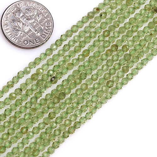 GEM-inside AAA Grade Natural 2mm Green Peridot Round Faceted Gemstone Beads for Jewelry Making Spacer Seed Beads Strand 15