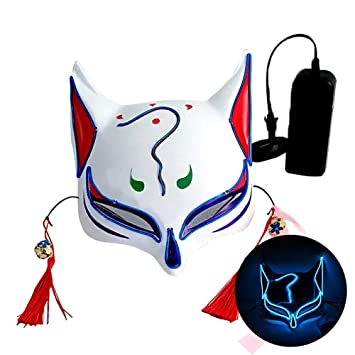 LVOW Halloween Máscara de Zorro japonés LED se Enciende Máscaras De Kabuki para Grimace Festival Cosplay Prop De Disfraz (Azul)