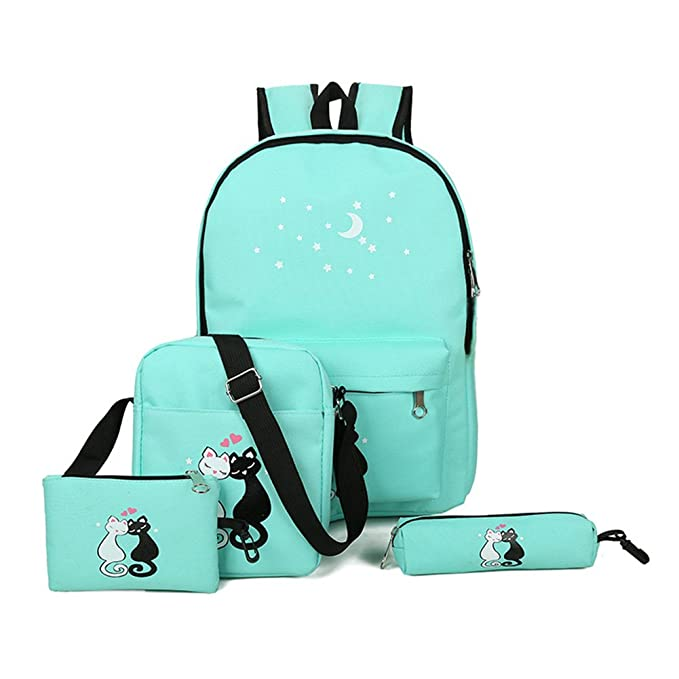 Amazon.com: Qjoy 4 Pcs Teenager Cute Cat Print Backpack Bag Set Unisex School Rucksack Shoulder Bags Pencil Case Sets: Sports & Outdoors