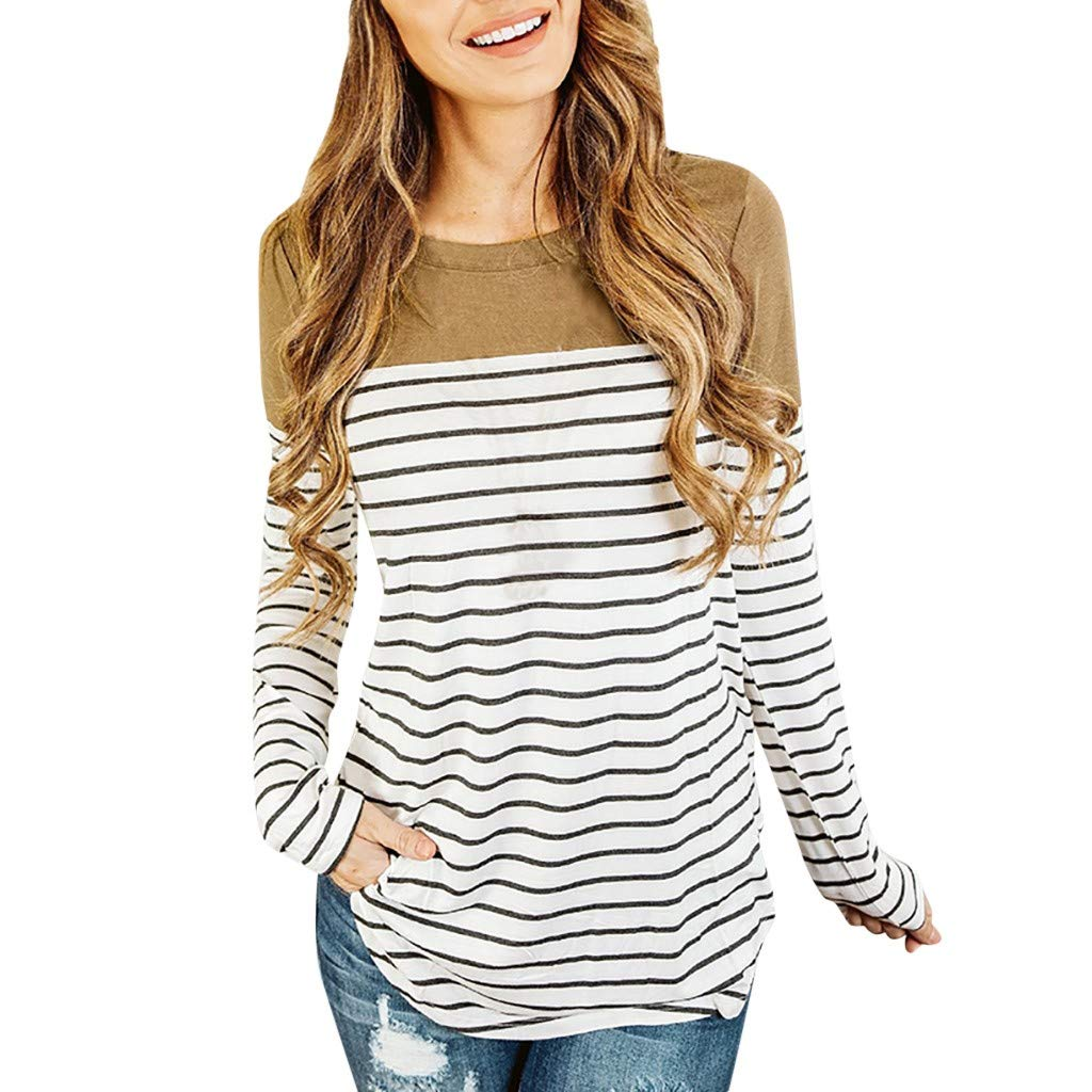Aberimy/Damen/Elegant/Stillshirt/Langarm/Baumwolle/Maternity/Langarmshirt/Streifen Mode Stillpullover/Stilltop/Umstandsshirt/Schwangerschaft/Umstandsmode/Still/Shirt/Oberteile/