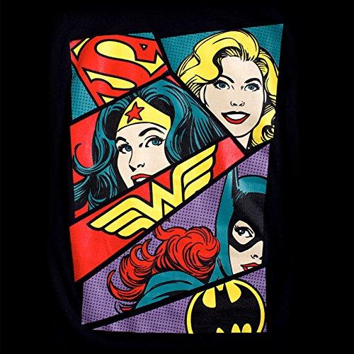 I-D-C Dc Originals-Heroine Pop Art, Camiseta para Mujer negro (negro)