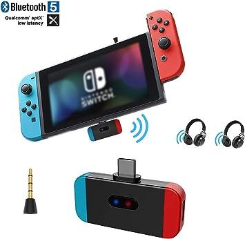 EMEBAY - Adaptador Bluetooth de audio para Nintendo Switch, USB C, adaptador de audio inalámbrico, transmisor con AptX de baja latencia para Nintendo Switch, auriculares inalámbricos azul y rojo: Amazon.es: Videojuegos