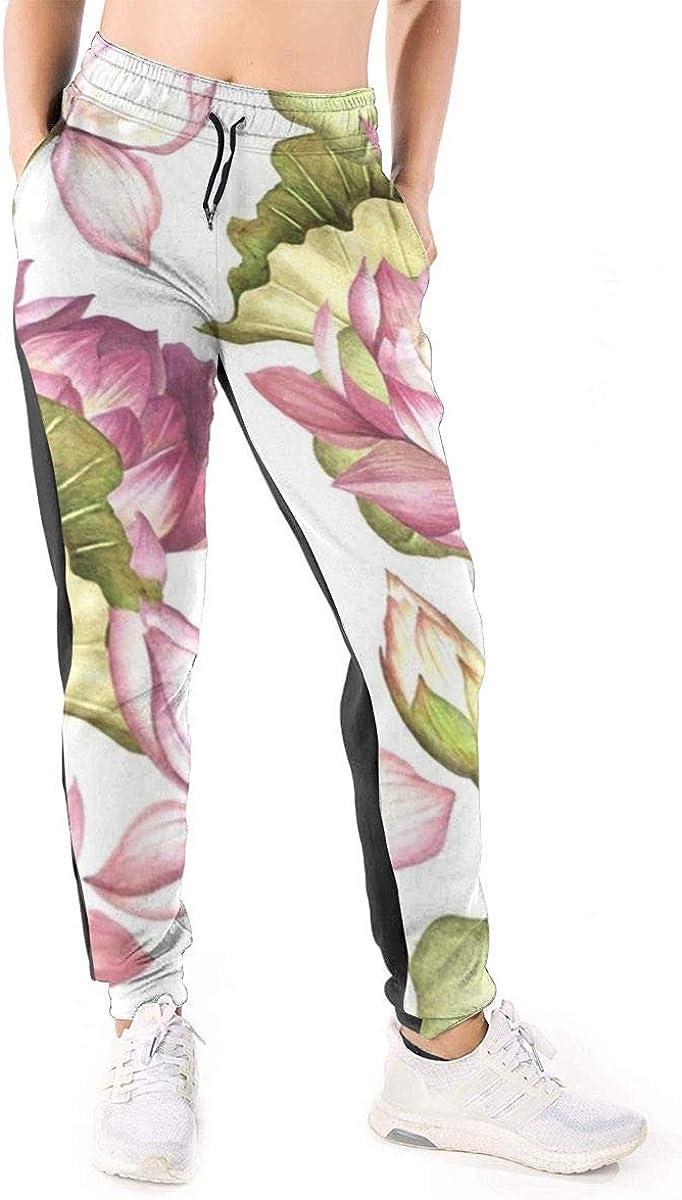 Pmftryuer Pink Lotus Print Sweatpants Women S Casual Elastic Waist Yoga Jogger Pants At Amazon Women S Clothing Store