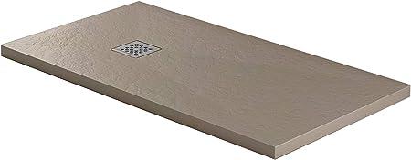 Essence - Plato de Ducha de 90 x 160 cm, Piedra de mármol de Resina - Jade - Efecto Roca - Grosor 3 cm - Rejilla cromada de Acero Inoxidable - Color Arena: Amazon.es: Hogar