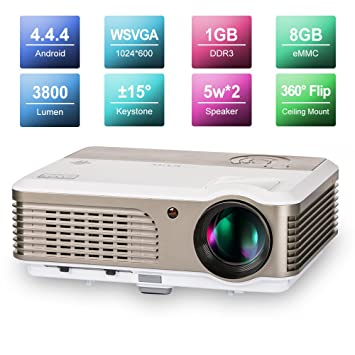 Wireless Home Theater Projector HDMI USB, Support Full HD 1080P 720P, with  Built-in Speakers Keystone Remote 50000 Hours LED Lifespan, Movie Video
