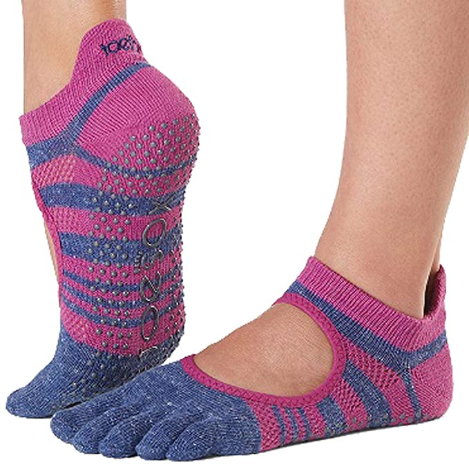 Toesox Grip Pilates Barre Socks-Non-Slip Bellarina Full Toe For Yoga & Ballet Calcetines, Mujer
