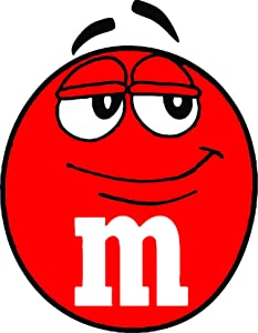 M&M's Candy Candies Smile Smiley Face Chocolate Delicious Food Decals for Rooms Kitchen/Kids Childrens Cartoon Cartoons Design Decoration for Wall Walls Fun Colorful Art Stickers Size 8x8 inches
