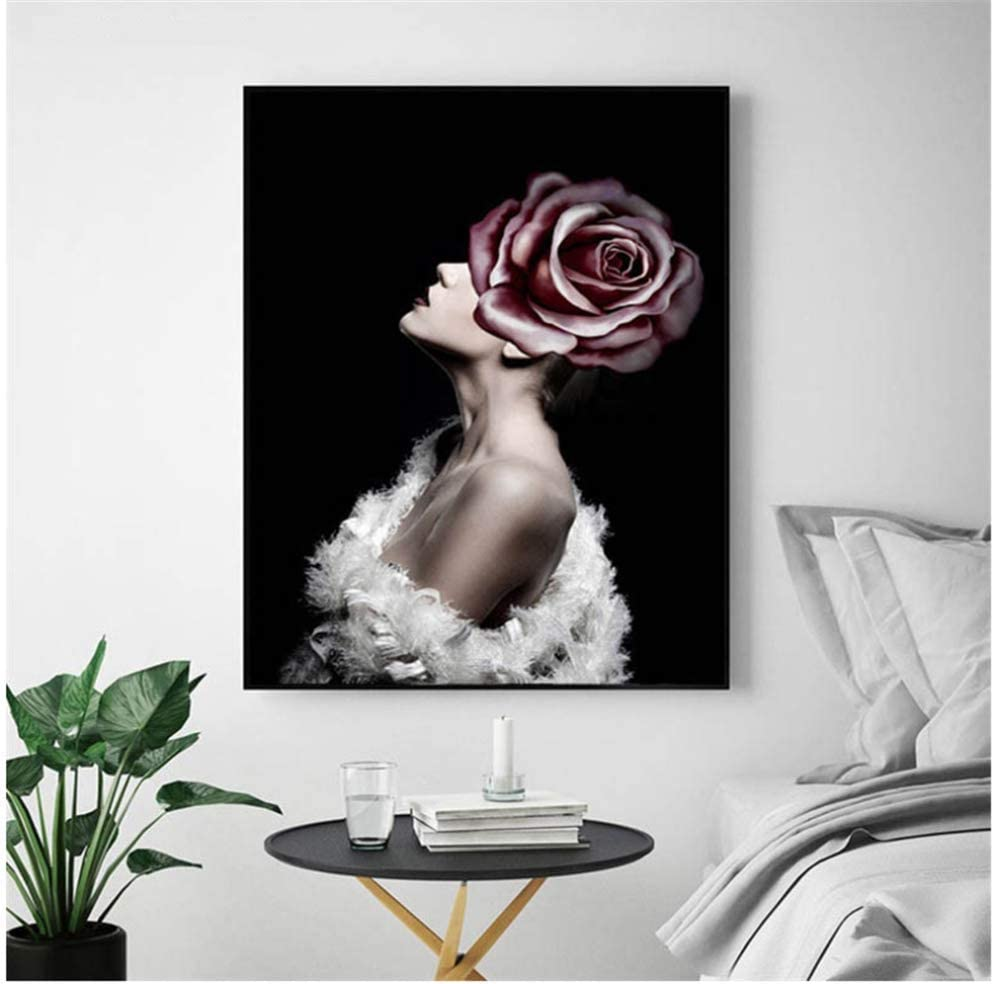 XingChen Pintura artística 50x70cm sin Marco Sexy Lady Flower Art Pictures Moda Mujer Mariposa Labios Dorados y Plateados Modernos Home Painting Posters