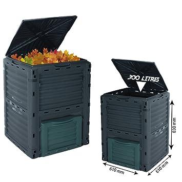 Cubo de basura, 300 L, para residuos orgánicos, para jardín, respetuoso con