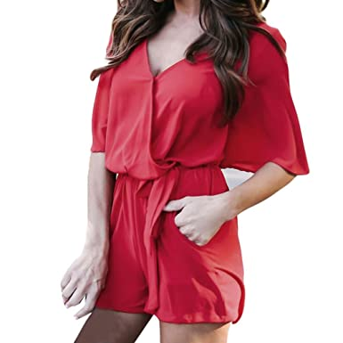 e05494303e Brezeh Women Jumpsuit Women Ladies Summer Chiffon Floral Print Playsuit  Romper V-Neck Half Sleeve