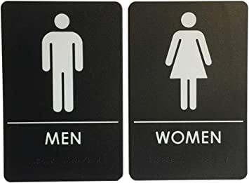 Amazon Com Men S And Women S Restroom Signs Ada Compliant Bathroom Door Signs For Offices Businesses And Restaurants Made In Usa Office Products