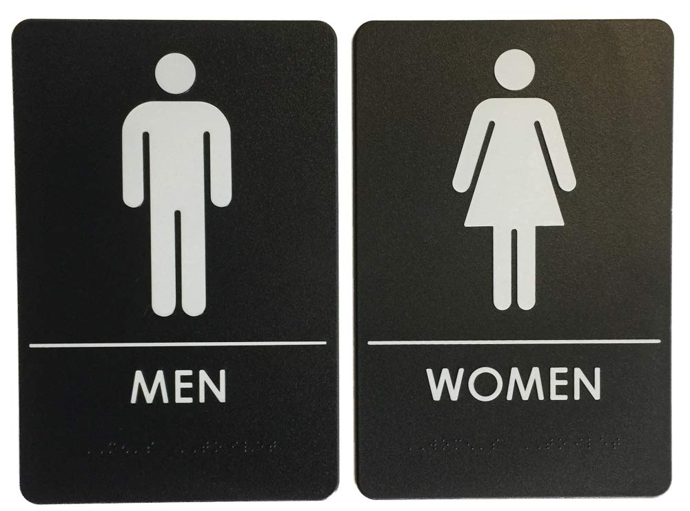 Men's and Women's Restroom Signs, ADA-Compliant Bathroom Door Signs for Offices, Businesses, and Restaurants | Made in USA | - Rock Ridge (Black, 2 Sign Bundle)