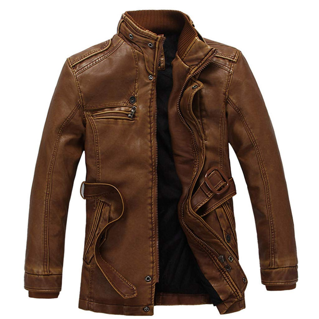 Men Vintage Jacket, NDGDA Male Zipper Stand Collar Plus Velvet Solid Imitation Leather Coat Autumn Winter Long Sleeve Solid Color Tops