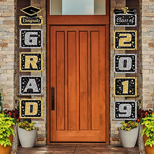 2019 Graduation Banner - Graduation Decoration Graduation Porch Sign Grad Party Supplies, Class of 2019 Congrats Grad for College, High School]()