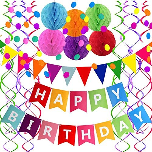 FECEDY Colorful Alphabet Birthday Decorations product image