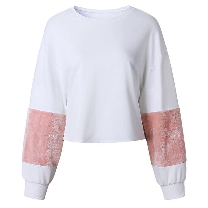 Z Las Sudaderas Blancas Ocasionales del Suéter De La Manga De Las Sudaderas del Suéter del Blanco De Las Mujeres Sudaderas: Amazon.es: Ropa y accesorios