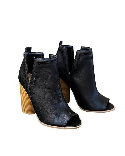 Women's Cowboy Chunky Heel Peep Toe Ankle Booties Boots