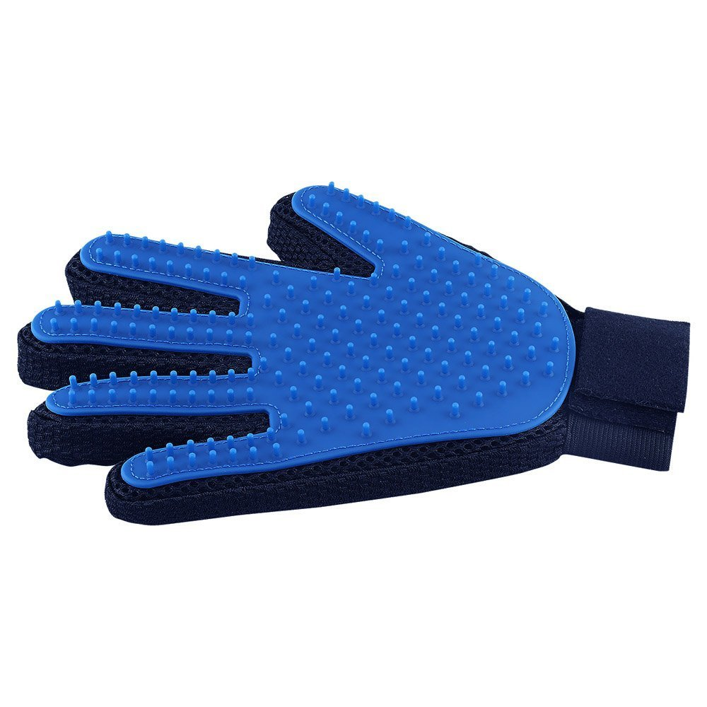 Pet Hair Remover Glove - Gentle Pet Grooming Glove Brush - Efficient Deshedding Glove - Massage Mitt with Enhanced Five Finger Design - Perfect for Dogs & Cats with Long & Short Fur - 1 Pack DELOMO delomo007