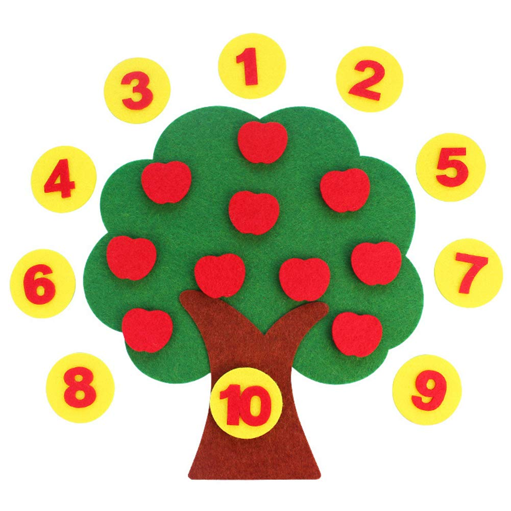 Everrikle DIY Craft Cloth Apple Tree Shape Digital Pairing Cognition Education Kids Toy,Classic Toy, Developmental Toy, Easy-to-Grip Shapes, Learning Toys for Toddlers