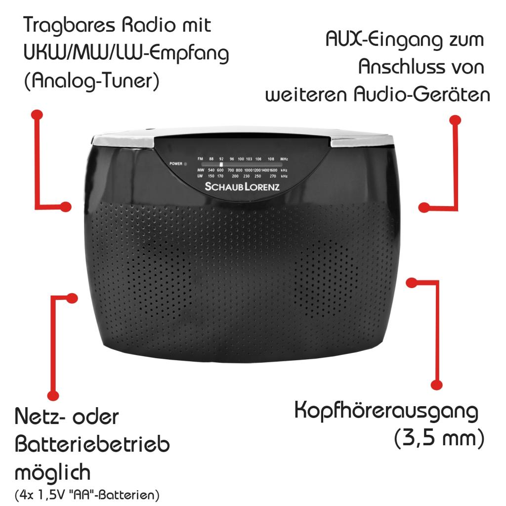 schaub lorenz rt242 tragbares radio ukw mw lw tuner aux in kopfh rer anschluss schwarz. Black Bedroom Furniture Sets. Home Design Ideas