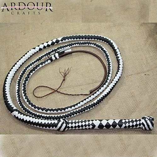 Ardour Crafts Genuine Leather Bullwhip 10 Feet Long 12 Plait Bull Whip]()