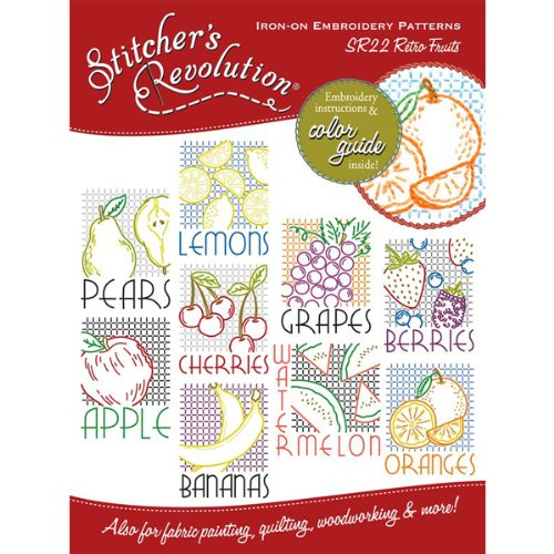 Stitcher's Revolution Iron-On Transfer Pattern for Embroidery, Retro Fruit