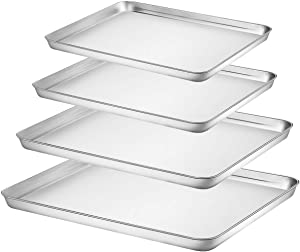 Baking Sheet Set of 4, Fungun Stainless Steel Baking Pans Tray Cookie Sheet, Non Toxic & Healthy Duty,Superior Mirror, Dishwasher Safe& Easy Clean