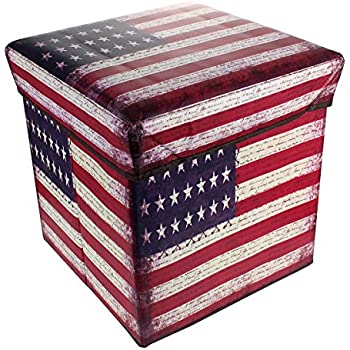 1-Cubic Foot Foldable Storage Ottoman with Retro Printed Stars and Stripes American Flag Design  sc 1 st  Amazon.com & 1-Cubic Foot Foldable Storage Ottoman with Retro Printed Stars and Stripes American Flag Design Square Cube