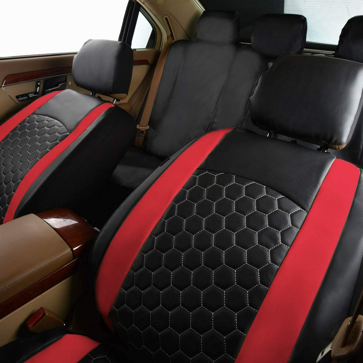 Flying Banner Creamy 2 Front Lichee Pattern Pu Leather Sporty Universal Car Seat Covers with Football pattern Embroidery Design