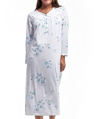 d5a54fb4a269a La Cera White and Blue Floral Long Sleeve Cotton Knit Sleep Gown at ...