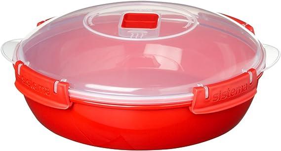 1.3 L Rojo PLATO De Microondas Sistema Redondo