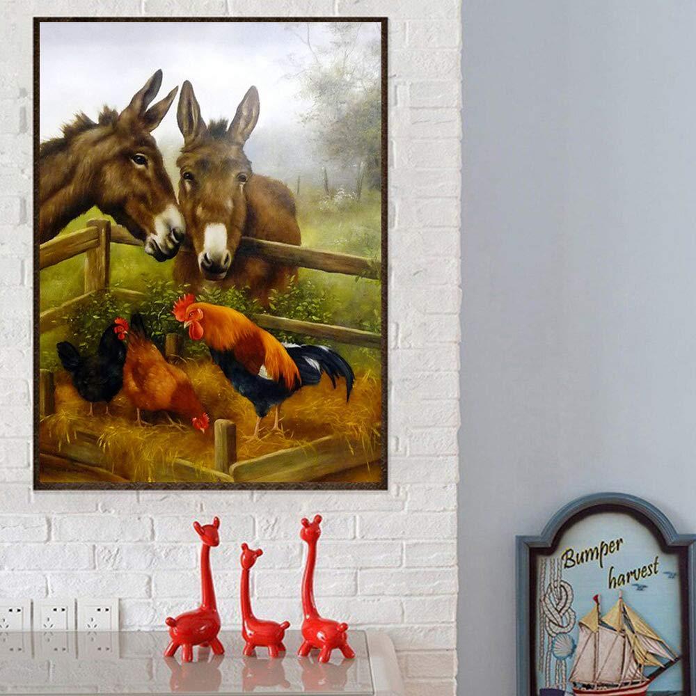 24x34cm DIY 5D Diamond Painting Cross Stitch Cock Donkey Needlework Rhinestone Mosaic Home Decor Full Diamond Embroidery Farm Animal