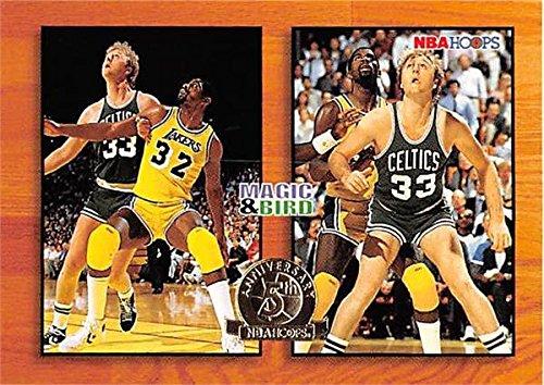 Magic Johnson Larry Bird basketball card (Celtics Lakers) 1994 Hoops #M1 Insert - Magic Johnson Basketball