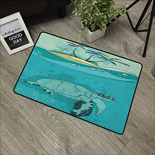 Carpets Indoor/Outdoor Area Rugs Ocean,Sea Turtle Swimming Coral Reef Exotic Island Underwater Life Illustration, Turquoise Teal Green,with Non Slip Backing,35