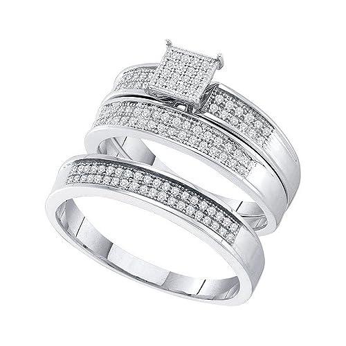 Para hombre para mujer Cluster Diamond Juego de bandas de boda y anillo de compromiso 10